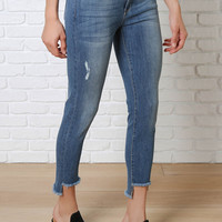 Frayed Step-Hem Skinny Jeans by Just Black