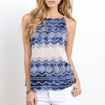 embroidered tank with crochet panel