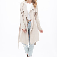 LOVE 21 Collarless Trench Coat Khaki