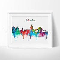 London Skyline 2 Watercolor Art Print