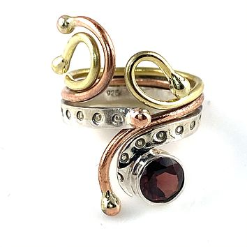 Garnet Sterling Silver Three Tone Whimsical Ring