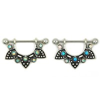 Half Mandala Opal Gems Surgical Steel Tribal Dangle Nipple Stirrup Piercing Ring 16g&14g