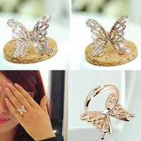 AMAZING BUTTERFLY SHAPED 925 STERLING SILVER ENGAGEMENT AND WEDDING RING FOR HER