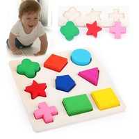 Wooden 9 Shapes Plate Colorful Play Building Blocks Baby Educational Bricks Toy (Size: 15cm by 15cm by 0.7cm) = 1945845380