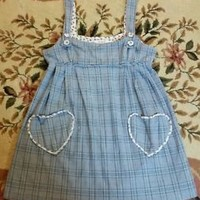 Heritage1981 Heart Plaid Mori Doll Fairy Kawaii Cute Sweet Lolita Jumper Dress