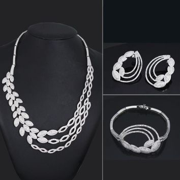 Very Big Exaggerated Design All Zircon Pave setting Stones Bridal Wedding Jewelry Chunky Necklace Earrings Bracelet 3 pieces Set