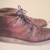 Red Wing Shoes Classic Chukkas Boots Brown Leather  Distressed  Boots Men's  Redwing Size 11.5 Men's
