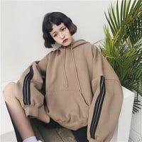 Women Hoodies Sweatshirts 2018 Winter Pullover Thick Loose Female Student Tracksuits Harajuku Splice Retro BF Style Hip Tops N