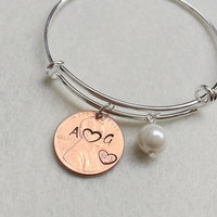 Copper Penny bracelet, personalized Gift for her, personalized bracelet, Couples bracelet, Kids children, real pearl, flower girls jewelry
