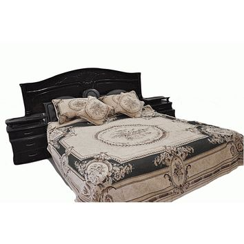 DaDa Bedding Olive Green Victorian Floral Chenille Medallion Tapestry Bedspread - Twin Size 3-Piece Set