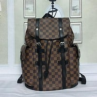 Louis Vuitton Women Fashion Leather Travel Backpack Bookbag