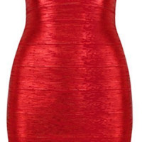 Elijah Liquid Bandage Dress - Metallic Red
