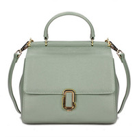 Retro Style Mint Green Genuine Leather Tote Bag. Spring Summer Leather Weekend Bag