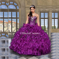 Sweetheart Purple Organza Ball Gowns Beaded Quinceanera dresses Q2