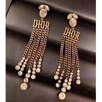 DIOR Women Fashion New Letter Tassel Diamond Personality Long Earring Accessories