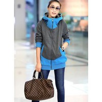 New Autumn Fashion Thicken Cotton Blend Flannel Zipper Long Sleeves One Size Casual Blue Hoodie Outfit @H4365bl