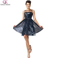 Real Photo Grace Karin Cocktail Dresses Navy Blue Short Cocktail Party Dress Luxury Sequins Sparkling Knee Length Cocktail Dress