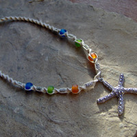 Hemp Necklace w/ SilverColored Starfish by KnottyandNiceHemp