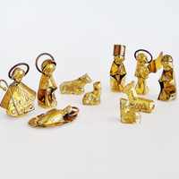 Miniature Brass Nativity Set MEXICO