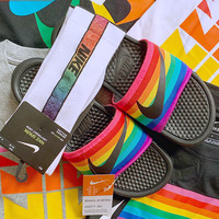 "Nike Benassi Just Do It Rainbow ""BeTrue"" Slide Summer recreational sports beach slippers"