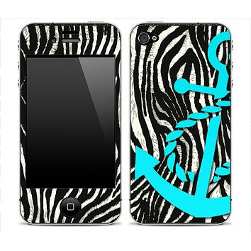 Real Zebra With Turquoise Anchor V3 Skin for the iPhone 3gs, 4/4s or 5