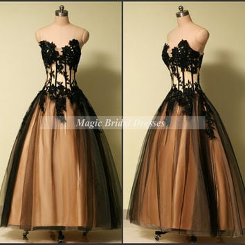 Classic Prom Dress 2015 off the shoulder Princess Ball Gown Sexy Black Sheer Tulle with Lace Appliques Floor-length Long Pron Dresses