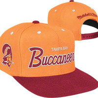 Tampa Bay Buccaneers Mitchell & Ness Throwback Script 2 Tone Adjustable Snapback Hat