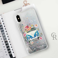 Hippie Bus Glitter Phone Case Clear Case For iPhone 8 iPhone 8 Plus - iPhone X - iPhone 7 Plus - iPhone 6 - iPhone 6S - iPhone SE  iPhone 5