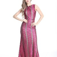 Women's Pink Lace Sleeveless Long Evening Prom Charity Homecoming Ball Gown