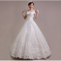 Off Shoulder Short Sleeves Bridal Wedding Gown Tulle Applique Ball Gown Wedding Dresses vestidos casamento 19241245