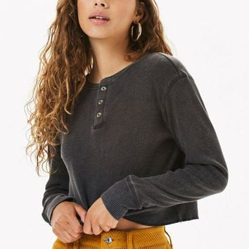 Me To We Jarred Waffle Knit Long Sleeve T-Shirt   PacSun