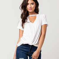 SOCIALITE Knot Front Womens Choker Tee | Knit Tops + Tees