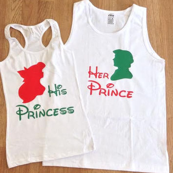 Free/Fast Shipping for US Christmas Ariel & Eric The Little Mermaid Prince and Princess Couples set. White(Red and Green Decal)