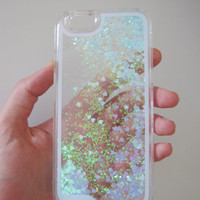 iPhone 6 case clear liquid glitter hipster heart iridescent geometric sequins floating liquid waterfall quicksand phone case trend US seller