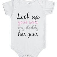 Lock up your sons-Unisex White Baby Onesuit 00