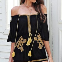 Moroccan Madness Black Gold Ethnic Pattern Embroidery Short Sleeve Off The Shoulder Tassel Short Romper Playsuit - Sold Out