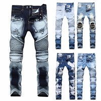 New Biker Jeans Men Autumn Casual Washed Cotton Fold Skinny Ripped Jeans Hip Hop Elasticity Slim Denim Jeans Pants Home