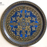 Royal Blue Hand Painted Serving Tray / Decorative plate / Round metal tray / Home decor / Wall hanging