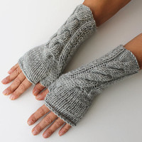 Light Grey Fingerless Gloves Winter Accessories Women Mittens Gloves Fingerless Glove