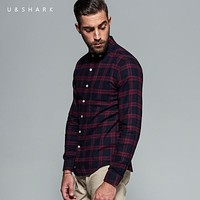 High Quality Long Sleeve Red Flannel Plaid Shirt Men Blouse Urban Clothes New Casual Flannel Check Shirt Male