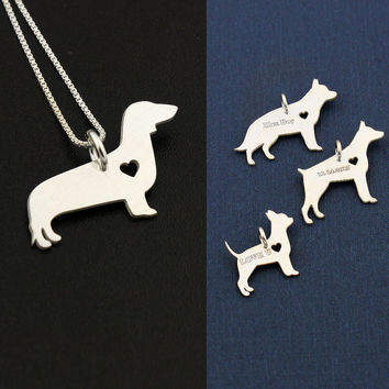 Dachshund necklace sterling silver dog with heart dog breeds pendant Love Pet Jewelry Italian box chain  brushed matte finish Best Gift