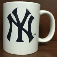 MLB New York Yankees White Ceramic Coffee Mugs Cups 12OZ w Handle Authentic New