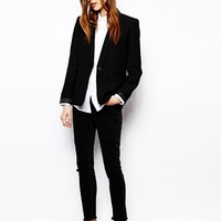 ASOS Whitby Low Rise Skinny Ankle Grazer Jeans in Washed Black with Ra