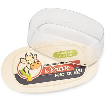 Extra Large Cream Butter Dish with Lid & Vintage French Cow Print - Dishwasher Safe Plastic & Bamboo Butter Dish With Clear Cover