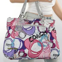 NWT Coach Poppy Signature Graphic Montage Glam Tote Shoulder Bag 17929 Pink RARE