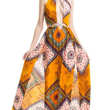 Sky High Orange Brown Purple White Blue Yellow Geometric Sleeveless Cut Out Halter Maxi Casual Dress