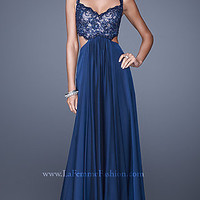 V-Neck La Femme Prom Dress with Open Back