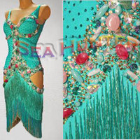 Ballroom Latin Salsa Rumba Ice Skating UK8/ US6 Dance Dress#L2516 Green Fringes