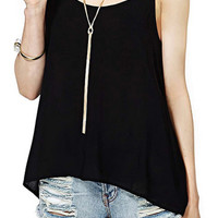 ROMWE Straps Backless Loose Black Vest