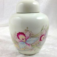 Ginger Jar with Lid Japan Orchids
